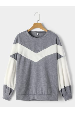 YOINS Light Color Block Pullover Lantern Sleeves Sweatshirt