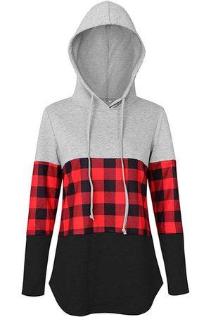 YOINS Drawstring Design Patchwork Check Long Sleeves Hoodie