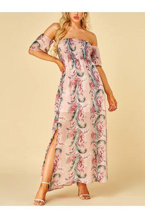 YOINS Shirring Floral Print Off The Shoulder Short Sleeves Dress