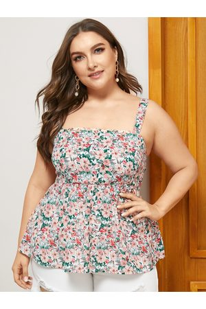 YOINS Plus Size White Floral Print Sleeveless Cami
