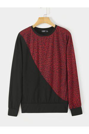 YOINS Color Block Patch Leopard Sweatershirt