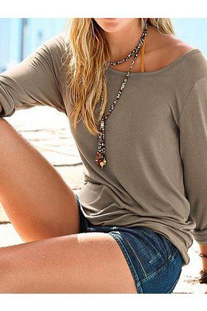 YOINS Khaki Button Design Round Neck Long Sleeves Tee