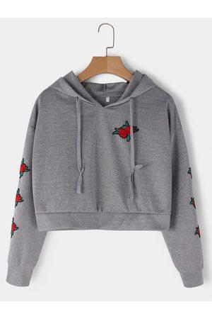 YOINS Embroidered Long Sleeves Crop Hoodie