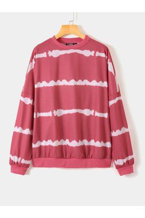 YOINS Stripe Round Neck Tie-dye Sweatshirt