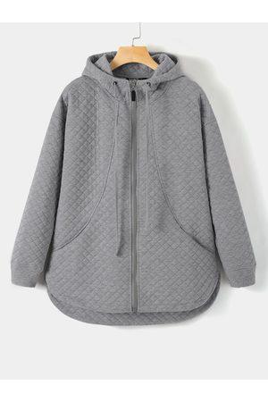 YOINS Grey Zip Front Pocket Design Long Sleeves Hoodie