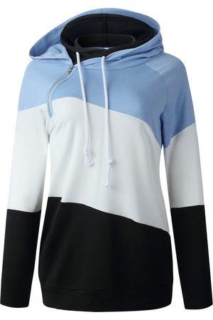 YOINS Color Block Zip Front Patchwork Long Sleeves Hoodie
