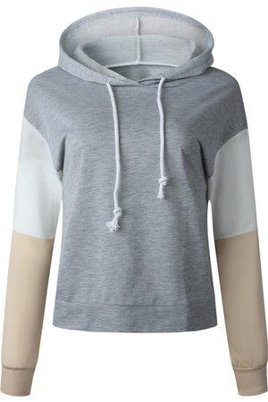 YOINS Grey Patchwork Long Sleeves Hoodie