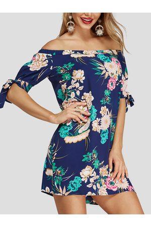 YOINS Random Floral Print Off The Shoulder Dresses