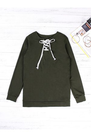 YOINS Lace-up Design Plain Crew Neck Long Sleeves Sweatshirt