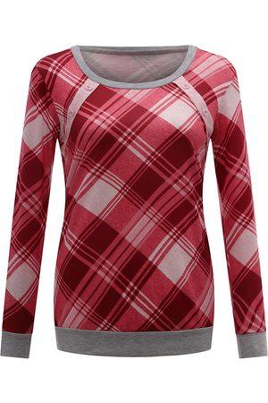 YOINS CHRISTMAS SALE Red Button Design Plaid Sweatshirt
