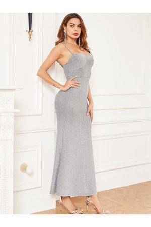 YOINS Silver Adjustable Shoulder Straps Sleeveless Dress
