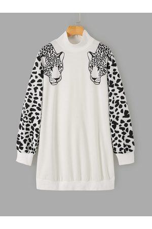 YOINS Random Leopard High Neck Long Sleeves Sweatshirt