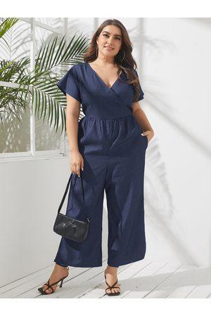 YOINS Plus Size V-neck Wrap design Short Sleeves Denim Jumpsuit