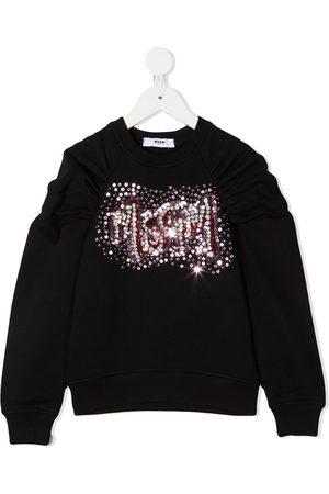 Msgm Sequin embellished gathered sweatshirt