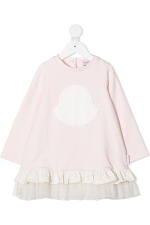 Moncler Logo embroidered ruffle dress