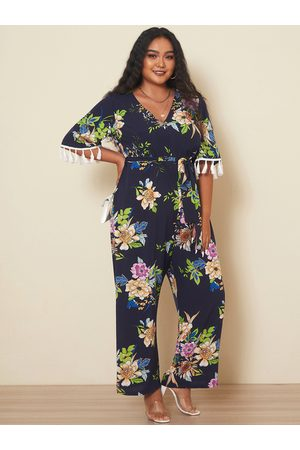 YOINS Plus Size V-neck Floral Print Belt Design 3/4 Length Sleeves Jumpsuit