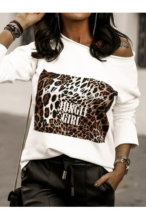 YOINS Letter & Leopard Round Neck Long Sleeves Tee