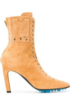 OFF-WHITE VELOUR HIGH HEEL ANKLE BOOTS BEIGE NO C