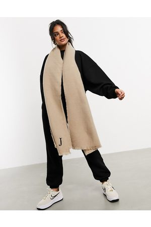 ASOS Supersoft long woven scarf with raw edge in stone-Neutral