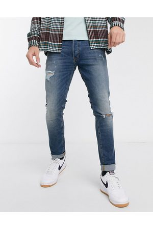 Jack & Jones Intelligence Glenn slim fit jeans with rips in super stretch in mid