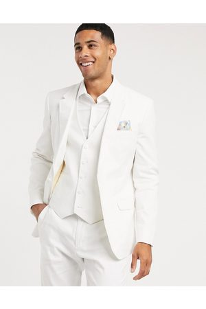 ASOS Wedding skinny suit jacket in stretch cotton linen in