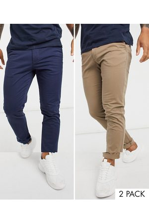 Jack & Jones Intelligence 2 pack slim tapered chino in beige & navy