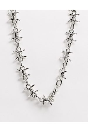ASOS Short chunky 17mm neckchain with barbed wire design in tone