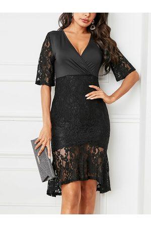 YOINS Black Lace V-neck Half Sleeves Dress