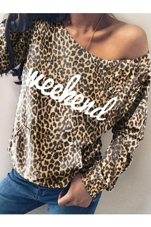 YOINS Brown Leopard Letter One Shoulder Sweatshirt