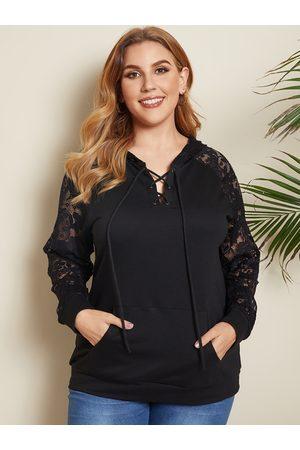 YOINS Plus Size V-neck Lace Patchwork Hooded Design Pocket Design Sweatshirt