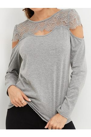 YOINS Lace Insert Round Neck Hollow Details Long Sleeves Cold Shoulder T-shirts