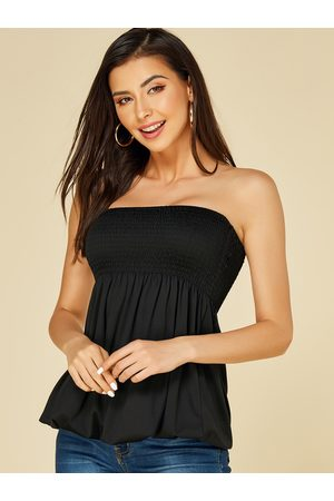 YOINS Shirred Strapless Pleated Camis