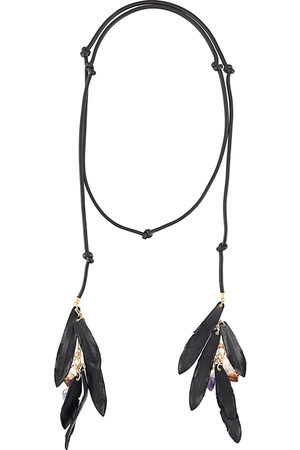 Dsquared2 Leather necklace with feather and crystal detailing