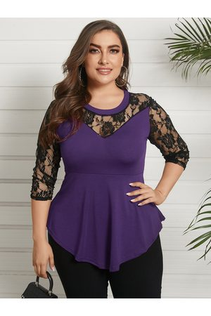 YOINS Plus Size Round Neck Lace 3/4 Length Sleeves Blouse