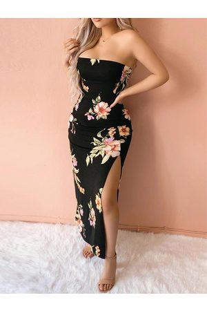 YOINS Tube Top High Slit Random Floral Print Sleeveless Dress