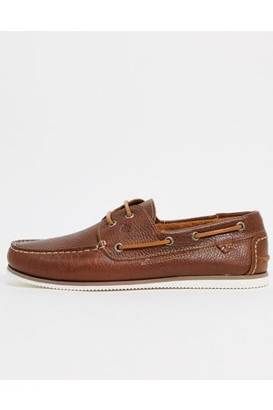 River Island Leather boat shoes in tan