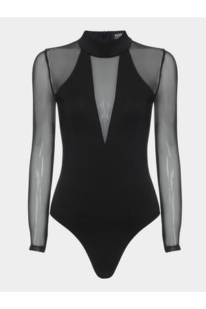 YOINS Women Long Sleeve - Sexy See-through Long Sleeves Bodysuit