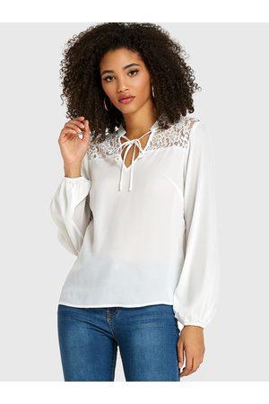 YOINS Women Blouses - Lace Insert V-neck Tie-up Design Blouse
