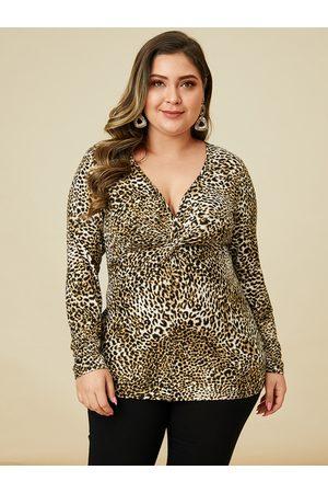 YOINS Women Long Sleeve - Plus Size Twist Leopard V-Neck Long Sleeves Tee