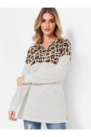 YOINS Leopard Print Zipper Front Coral Velvet Sweatshirts