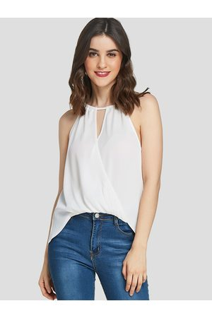 YOINS Women Halterneck Tops - Crossed Front Design Halter Sleeveless Blouse
