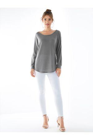 YOINS Women Long Sleeve - Gray Knit Cold Shoulder Long Sleeves Jumper