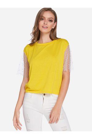 YOINS Women T-shirts - Mesh Sleeves Round Neck T-shirts