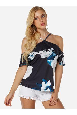 YOINS Women Halterneck Tops - Elastic Strap Floral Print Halter Off Shoulder Half Sleeves Blouses