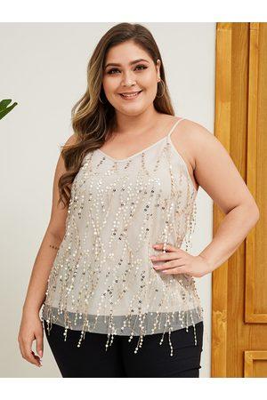 YOINS Women Camisoles - Plus Size Beige Sequins embellished Mesh Cami
