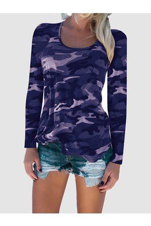 YOINS Women Long Sleeve - Camouflage Pattern Round Neck T-shirt