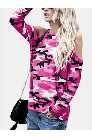 YOINS Women Long Sleeve - Camouflage Round Neck Cold Shoulder Long Sleeves T-shirt