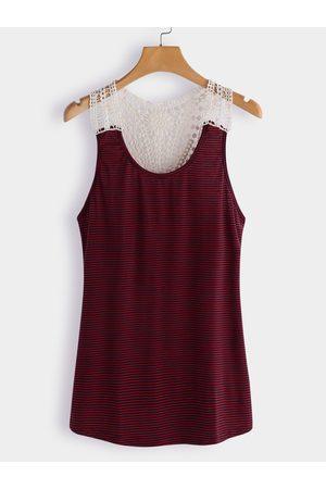 YOINS Women Camisoles - Lace Details Stripe Round Neck Cami