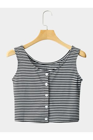 YOINS Women Crop Tops - Fashion Stripe Button Crop Top
