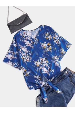 YOINS Women Short Sleeve - Floral Print V-neck Knotted Short Sleeves Blouse